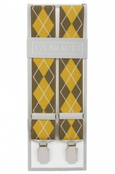 Mustard Yellow Argyle Diamond Trouser Braces